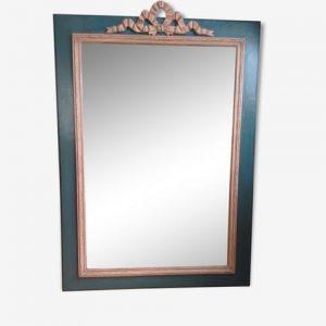 miroir vintage, bois sculpté, ruban, bleu pétrole, rose