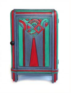 mini commode, art deco, bois sculpté, rare meuble, 1930s